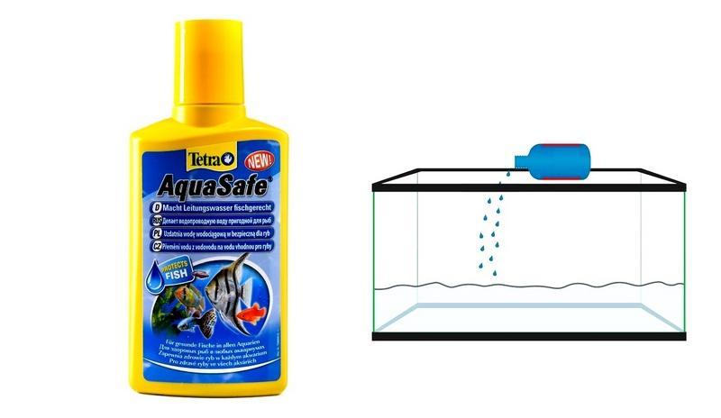 Кондиционер Tetra AquaSafe необходим для обезвреживания соединения хлора и железа в воде